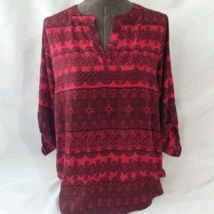 Cato Sz S Womens Shirt Red Black Low High